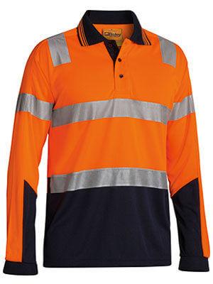 Bisley Long Sleeve Hi Vis Polo MMesh Orange