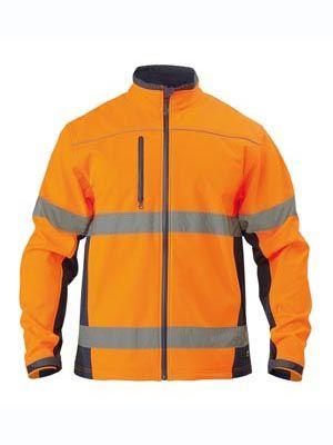 Bisley Soft Shell Jacket w Reflective Tape Orange