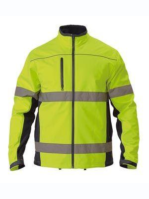 Bisley Soft Shell Jacket w Reflective Tape Yellow