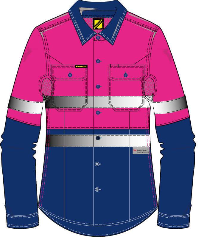 NCC WorkCraft  Ladies Long Sleeve Shirt NavyPink