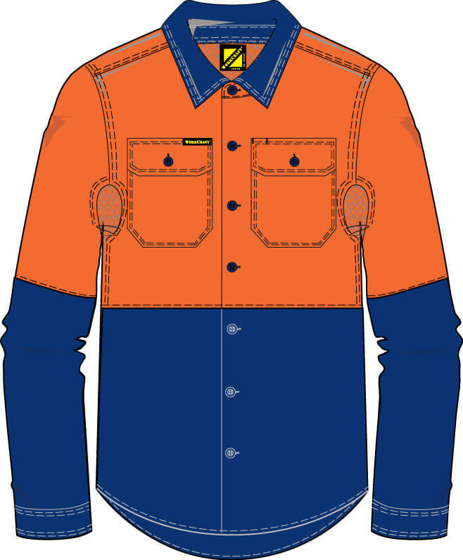 NCC WorkCraft  Long Sleeve Shirt NavyOrange