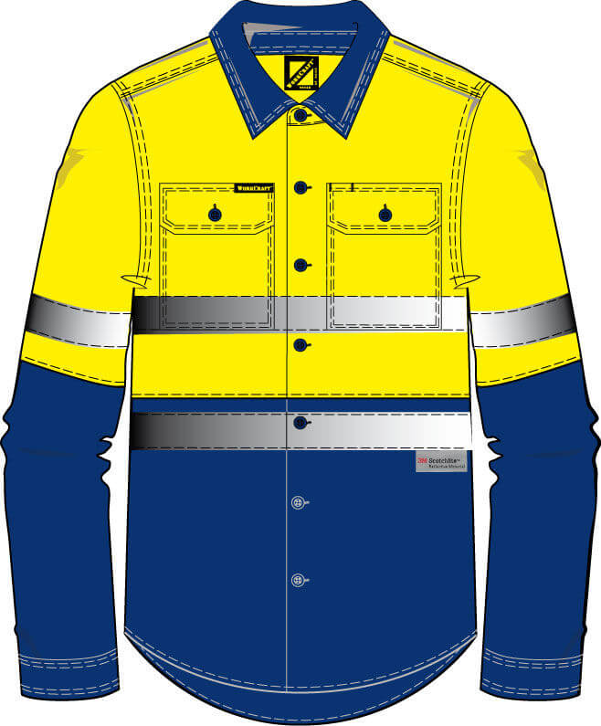 NCC WorkCraft  Long Sleeve Shirt NavyOrange WS4000