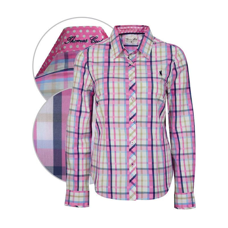 Thomas Cook Womens Mandurah Check LS Pink RoseBlue