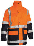 Bisley 5 in 1 Rain Jacket (HiVis) Orange/Navy