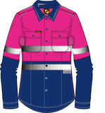NCC WorkCraft  Ladies Long Sleeve Shirt NavyPink