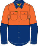 NCC WorkCraft - Long Sleeve Shirt (Navy/Orange)