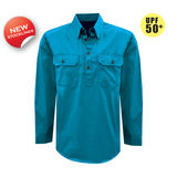 Thomas Cook Womens Heavy Cotton Drill 2PK 1/2 Plkt L/S Shirt Aqua