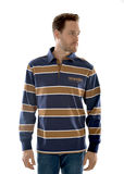 Wrangler Mens Finch Stripe Rugby - Navy